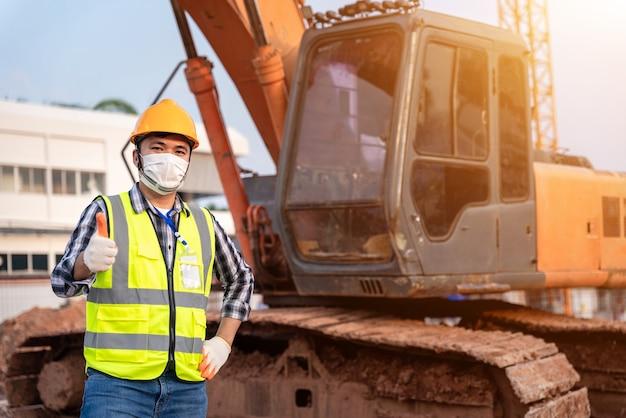 職長建設掘削機の肖像画