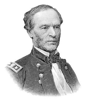 白い背景で隔離のウィリアム・シャーマン将軍の肖像画