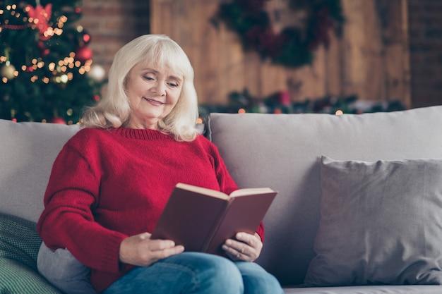 おばあちゃんのおばあちゃんの肖像画は、屋内のインテリアハウスで本の物語を読んでソファに座っています