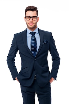 眼鏡をかけたハンサムなビジネスマンの肖像画