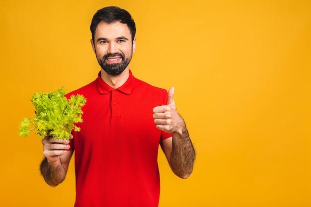 Портрет красивого молодого человека жует свежие листья салата, изолированные на желтом фоне.
