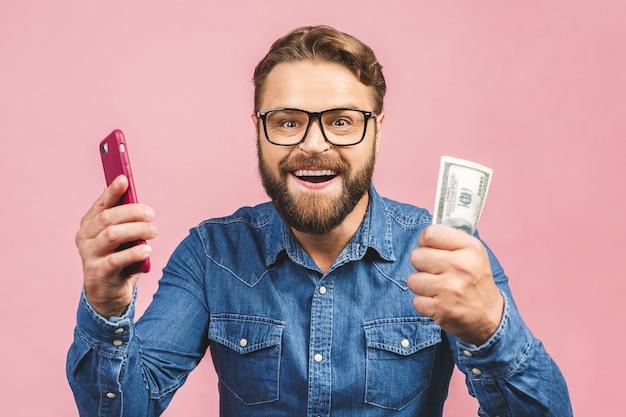 지폐를 들고 안경 잘 생긴 젊은 남자의 초상화