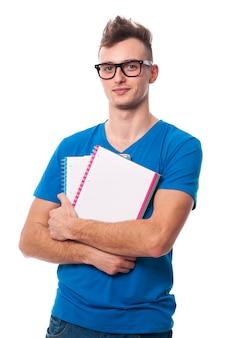 ハンサムな若い学生の肖像画
