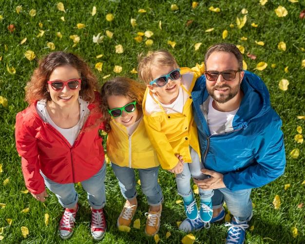 행복 한 가족 야외의 초상화입니다. 아버지, 어머니, 딸 및 아들 이을 공원에서 재미. 평면도
