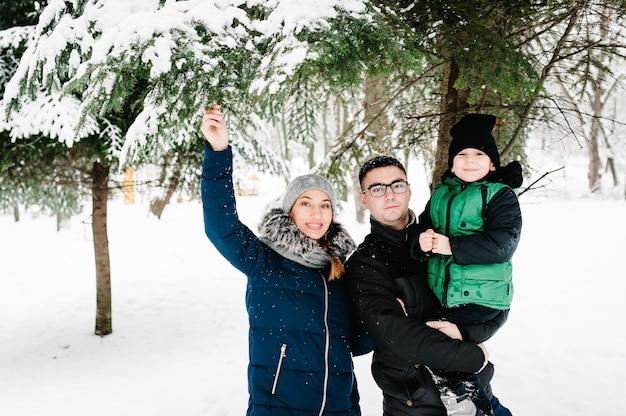 雪の冬の公園を歩いている幸せな家族の肖像画。父、母、子供たちの男の子は、自然の中で雪に覆われた冬の散歩を楽しんで遊んでいます。