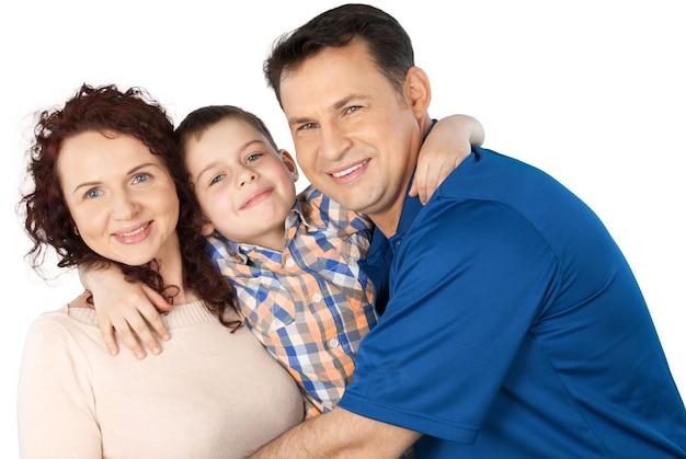 Портрет счастливой семьи с сыном, изолированные на прозрачном фоне