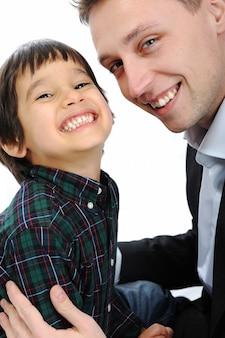 幸せな父と息子の肖像