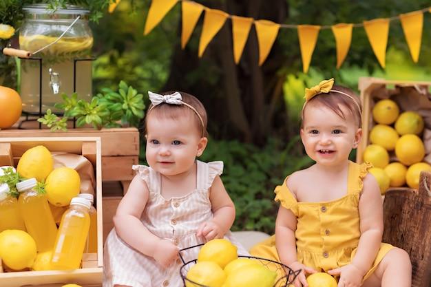 幸せな女の子の姉妹の肖像画、赤ちゃんはレモンを食べるし、夏に屋外でレモネードを飲む
