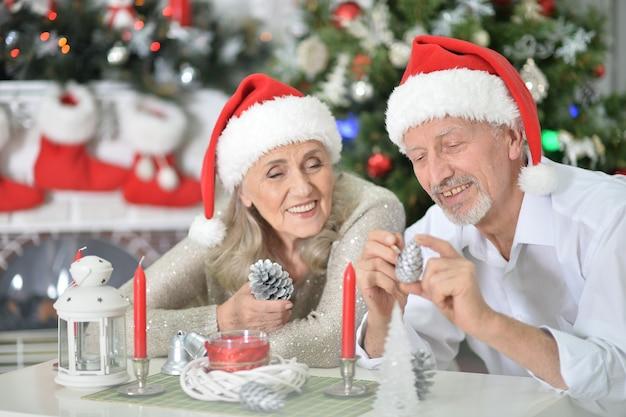 크리스마스나 새해를 준비하는 산타 모자를 쓴 행복한 노부부의 초상화