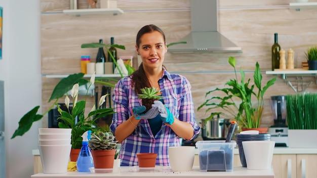 부엌에서 테이블에 앉아 즙이 많은 식물을 들고 행복 한 여자의 초상화. 여자는 집 장식을 위해 삽, 장갑, 비옥한 토양, 꽃을 사용하여 세라믹 냄비에 꽃을 심습니다.