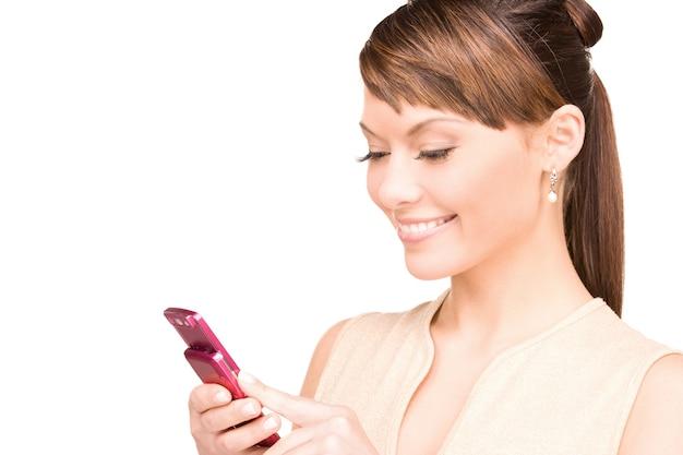 휴대 전화와 함께 행복 한 여자의 초상화
