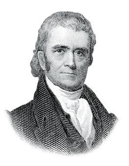 白い背景で隔離のジョンマーシャルの肖像画