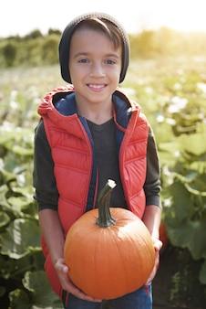 Портрет маленького мальчика со спелой тыквой