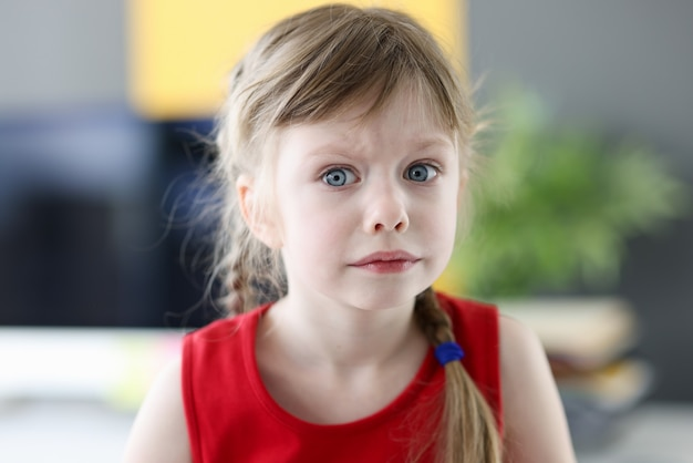 しんみりとおびえた表情の子供の頃の恐怖と質問を持つ小さな感情的な女の子の肖像画