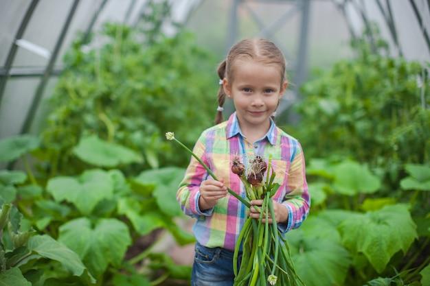 小さな女の子の肖像画は温室で作物玉ねぎを収集します