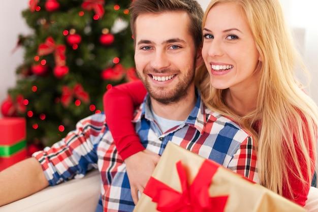 クリスマスの時期の素敵なカップルの肖像画
