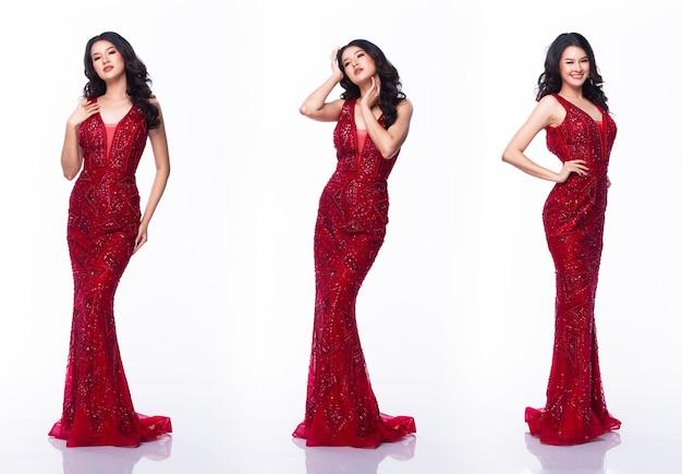 Портрет мисс азиатский конкурс красоты в длинном платье с красными пайетками, студийное освещение на белом фоне, групповой коллаж с полным телом, изолированным
