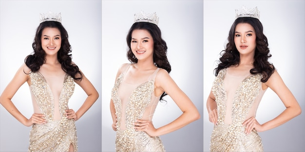 Портрет мисс азиатский конкурс красоты в вечернем бальном платье с пайетками, длинное платье со сверкающим светом diamond crown, студийное освещение серым фоном, групповой коллаж из половины лица