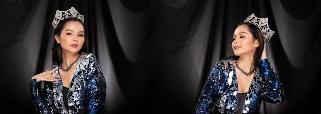 Портрет мисс конкурс красоты в синем серебряном вечернем платье с пайетками, сверкающая алмазная корона, азиатская женщина чувствует себя уверенно в прогулочной презентации, черный тканевый фон с драпировкой, групповой набор коллажей