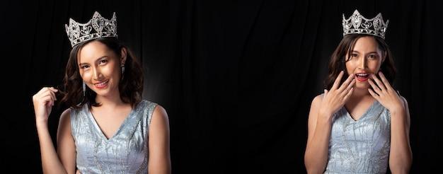 スパンコールのミスページェント美人コンテストの肖像イブニングボールガウンロングドレス、スパークルライトダイヤモンドクラウン、アジアの女性のファッションは黒い髪のスタイルを構成し、スタジオ照明の暗い背景は劇的です
