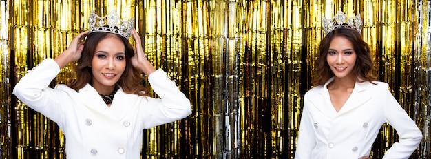Портрет конкурса красоты miss pageant в белом платье-пиджаке с блестящей алмазной короной, молодая азиатская девушка развлекается в теме новогодней вечеринки, обои с золотым занавесом, концепция группового коллажа
