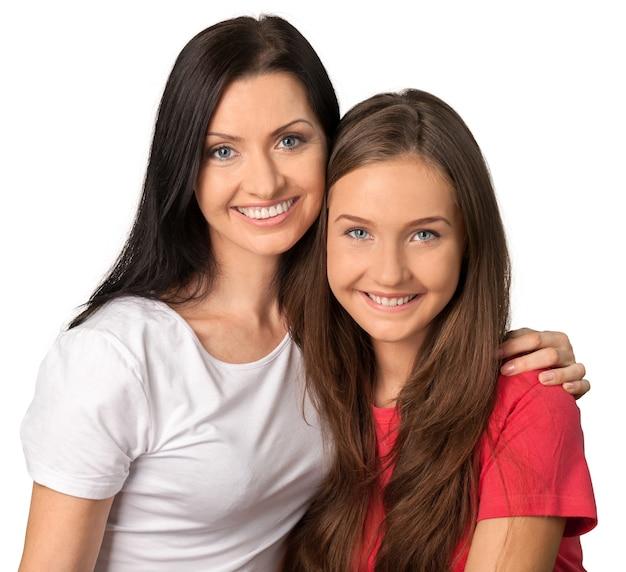 엄마와 딸 포옹의 초상화