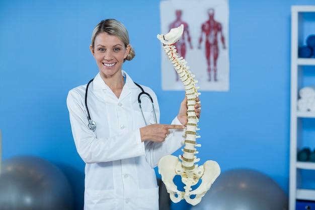 Портрет физиотерапевта с моделью позвоночника