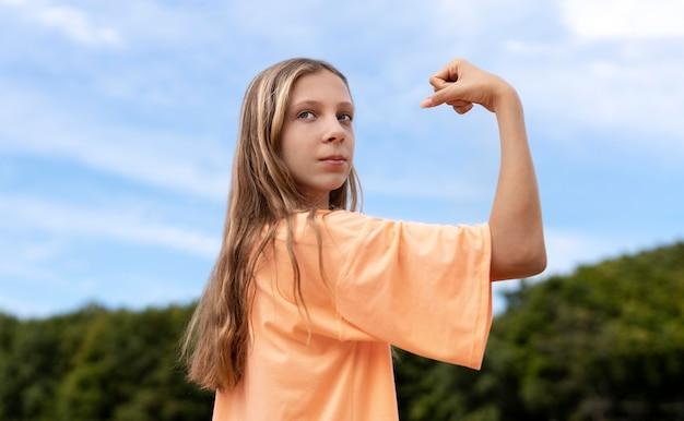 かなり自信のある女の子の肖像画
