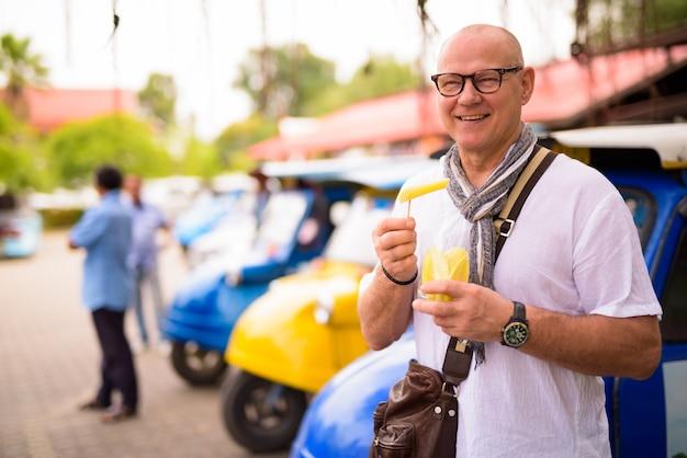 タイのアユタヤ市で休暇を過ごすシニアスカンジナビアの観光客の男性の肖像画