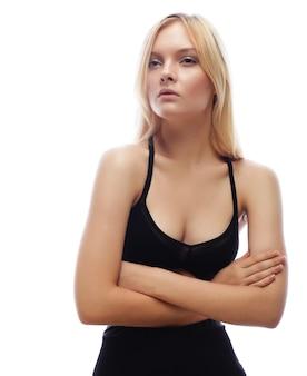 관능적 인 여자 모델의 초상화입니다. 패션 사진.