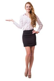 웃는 비즈니스 여자, 흰색 배경에 고립의 초상화