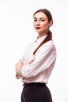 白で笑顔のビジネス女性の肖像画