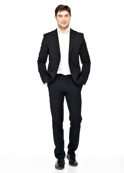 黒のスーツのカジュアルなポーズで笑顔のビジネスマンの肖像画