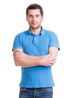 파란색 티셔츠에 웃는 행복 잘 생긴 남자의 초상화