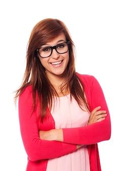 ファッションメガネと笑顔の女性の肖像画