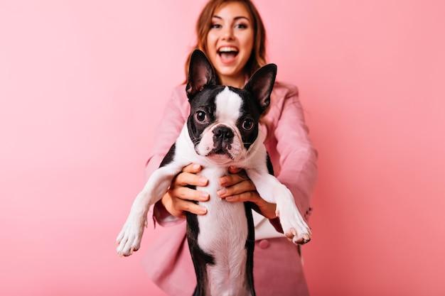フォアグラウンドで小さな面白い犬とスタイリッシュなのんきな女の子の肖像画。フレンチブルドッグとの肖像画撮影中に良い感情を表現する黒髪の魅力的な白人女性。