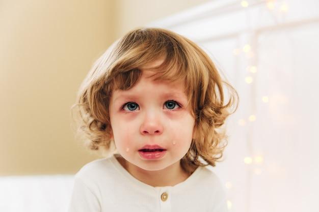 눈물 어린 소녀의 초상화입니다. 작고 귀여운 소녀가 울고 있습니다. 실내. 곱슬머리와 파란 눈입니다.