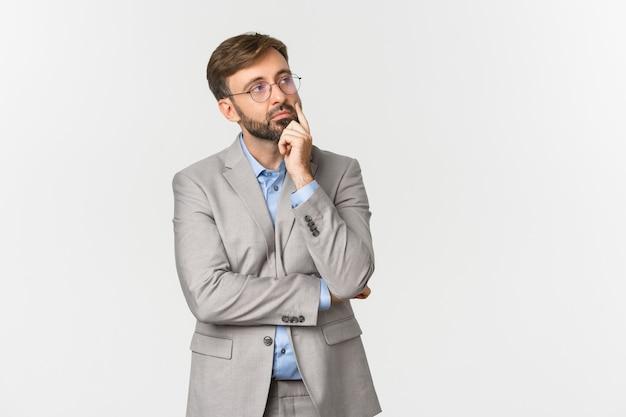 あごひげ、身に着けていると眼鏡を持つ思いやりのあるビジネスマンの肖像画