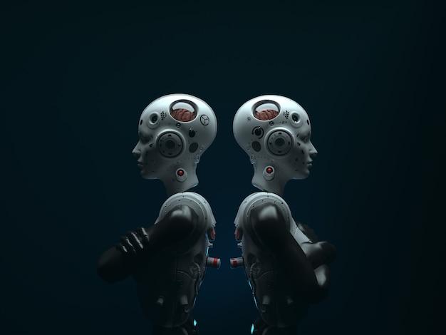 Портрет двух женщин-роботов, стоящих спиной к спине