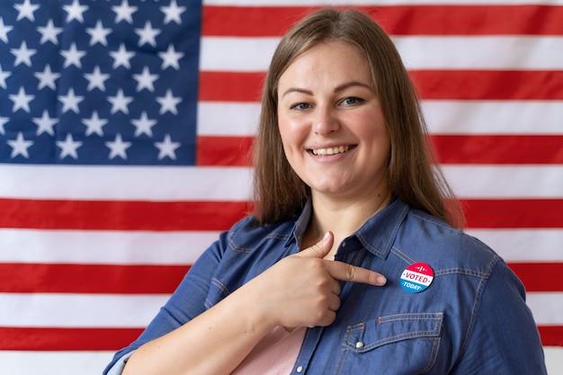 Портрет женщины в день регистрации избирателей