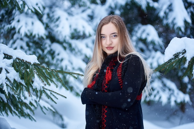 눈 덮인 풍경 배경에 겨울 날에 여자의 초상화