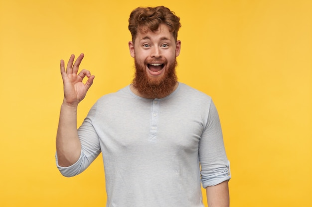 赤い髪の若いひげを生やした男の肖像画は、元気に笑って、楽しい表情で、黄色にokのサインを示しています。