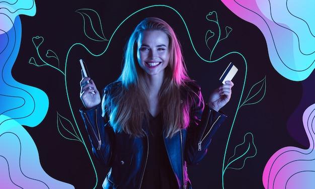 現代のイラスト入りの背景にネオンでカード電話を持つ若い美しい女性の肖像画