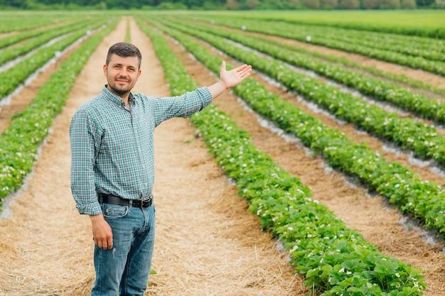 Портрет молодого фермера, стоящего в клубничном поле с раскинутыми руками мужчина фермера, смотрящего в камеру с поднятыми руками