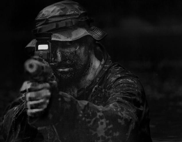 초상, 의, 젊은 군인, 남자, 에서, 진흙