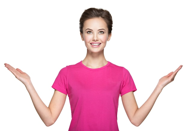 手を上げて若い女性の肖像画