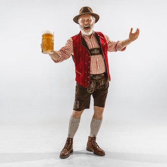 Portrait of oktoberfest man, wearing the traditional bavarian clothes