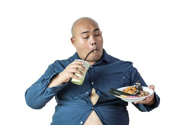 Portrait of overweight person feels hungry and eating chips