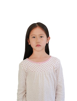 Portrait of peaceful little asian girl looking straight isolated on white background.