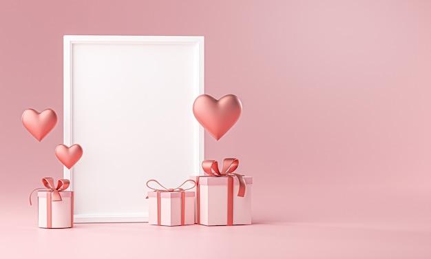 Портретная фоторамка мокап шаблон любовь сердце баллон и подарочная коробка 3d рендеринг